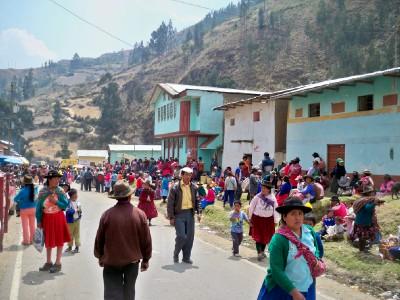 A village enjoying a fiesta in Peru