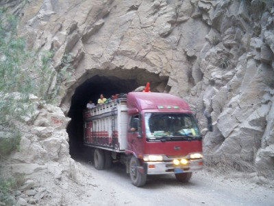 This lorry only just fits through the tunnel in Peru