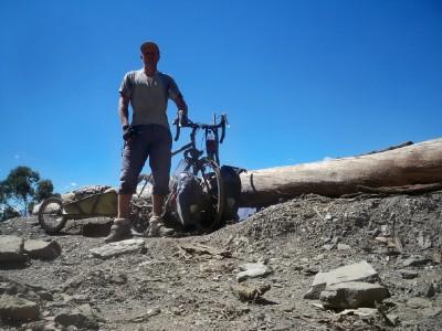 Dave Briggs taking a lunch break when cycling in Peru