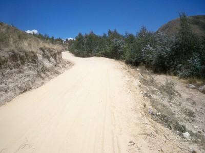 Cycling a sandy track in Peru