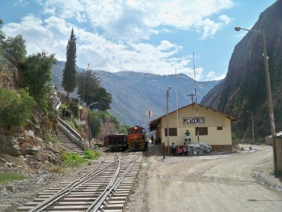 A small rail station in rural Peru, possibly used to transport ore from mines