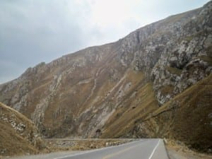 Cycling into La Oroya, Peru