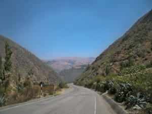 Cycling out of Huanuco in Peru