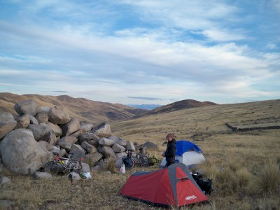Set up tents to wild camp in Peru on a bike tour