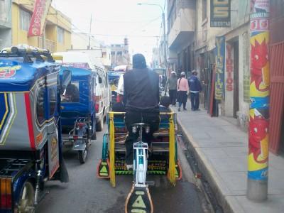 Cycling through Juliaca in Peru
