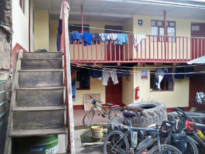 Our bicycles in the accommodation of Kishuara in Peru