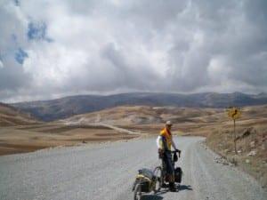 Dave Briggs cycling near Andahuaylas in Peru