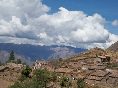 Cycling past the village of Ocros in Peru