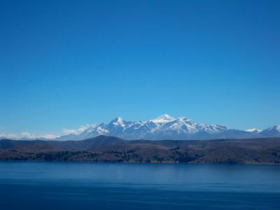 Snow capped mountains near Tequina in Bolivia