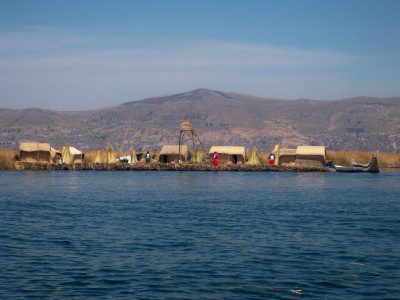 Uros floating islands on Lake Titicaca in Peru