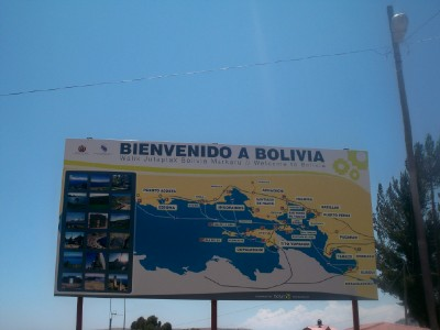 Welcome to Bolivia sign on the border