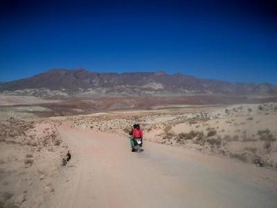 A motorbike on the road near Atocha Bolivia