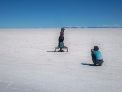 Headstands in thr salt pans of Bolivia