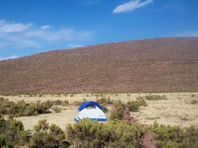 My wild camping spot near Corque in Bolivia