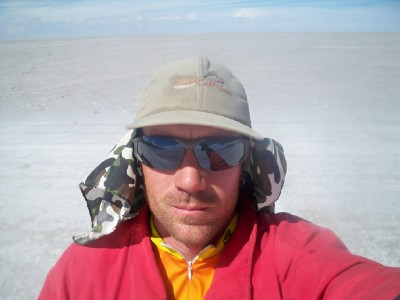 Dave Briggs on the salt pans in Bolivia