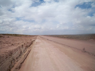 The dusty road leading out of Toledo in Bolivia