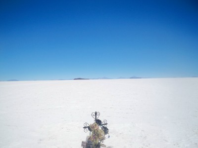 A memorial marker in the Salt Pans of Bolivia