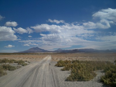 Sandy tracks when bicycle touring in Bolivia