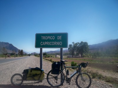 Cycling over the Tropic of Capricorn in Argentina