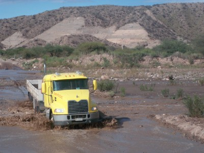Crossing a flooded river in Argentina