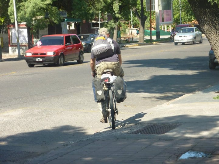 Dave Briggs cycling out of Mendoza for the last time