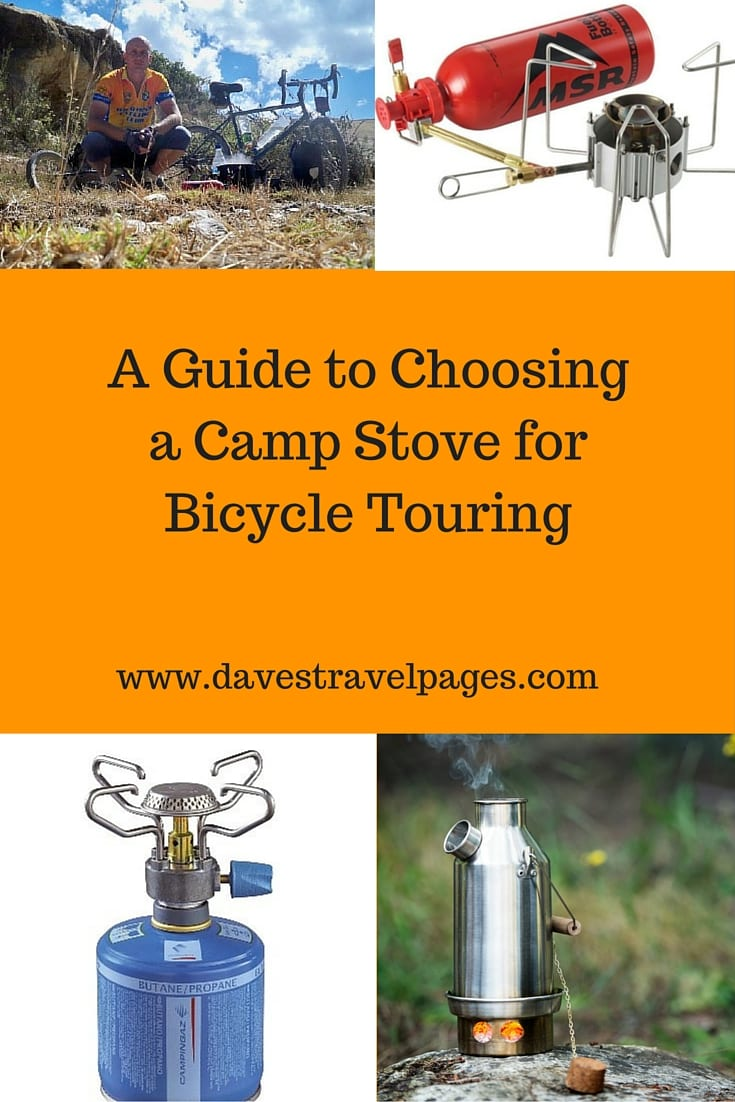 A complete guide on how to choose a camp stove for bicycle touring. Should you use liquid fuel, cannister gas, or an alternative fuel camp stove?