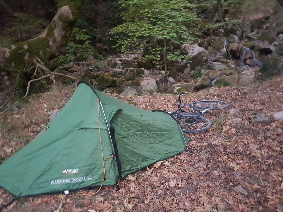My wild camping spot when bicycle touring in Greece