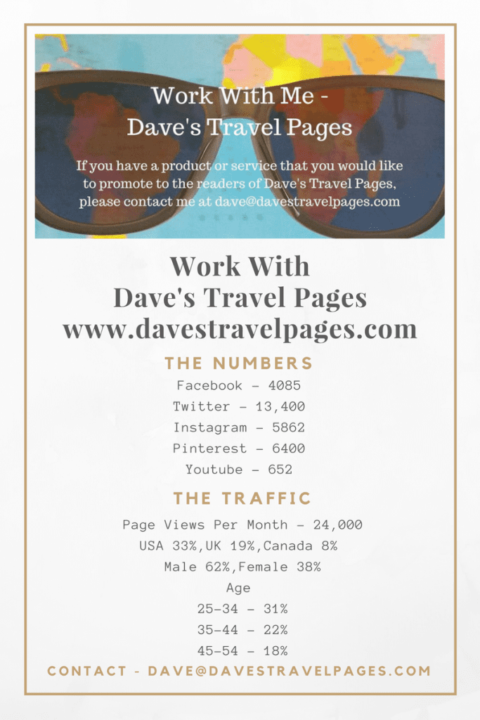 Work with Dave's Travel Pages. Please contact me if you would like us to work together.