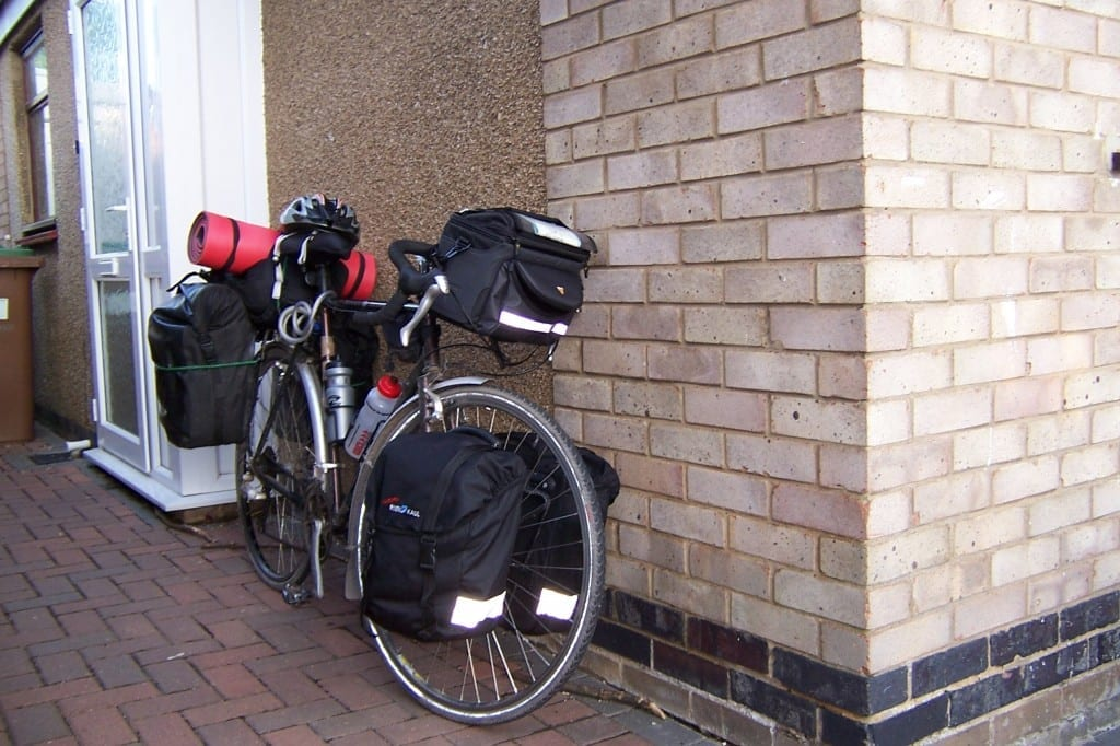 My Dawes Galaxy complete with panniers before cycling to South Africa