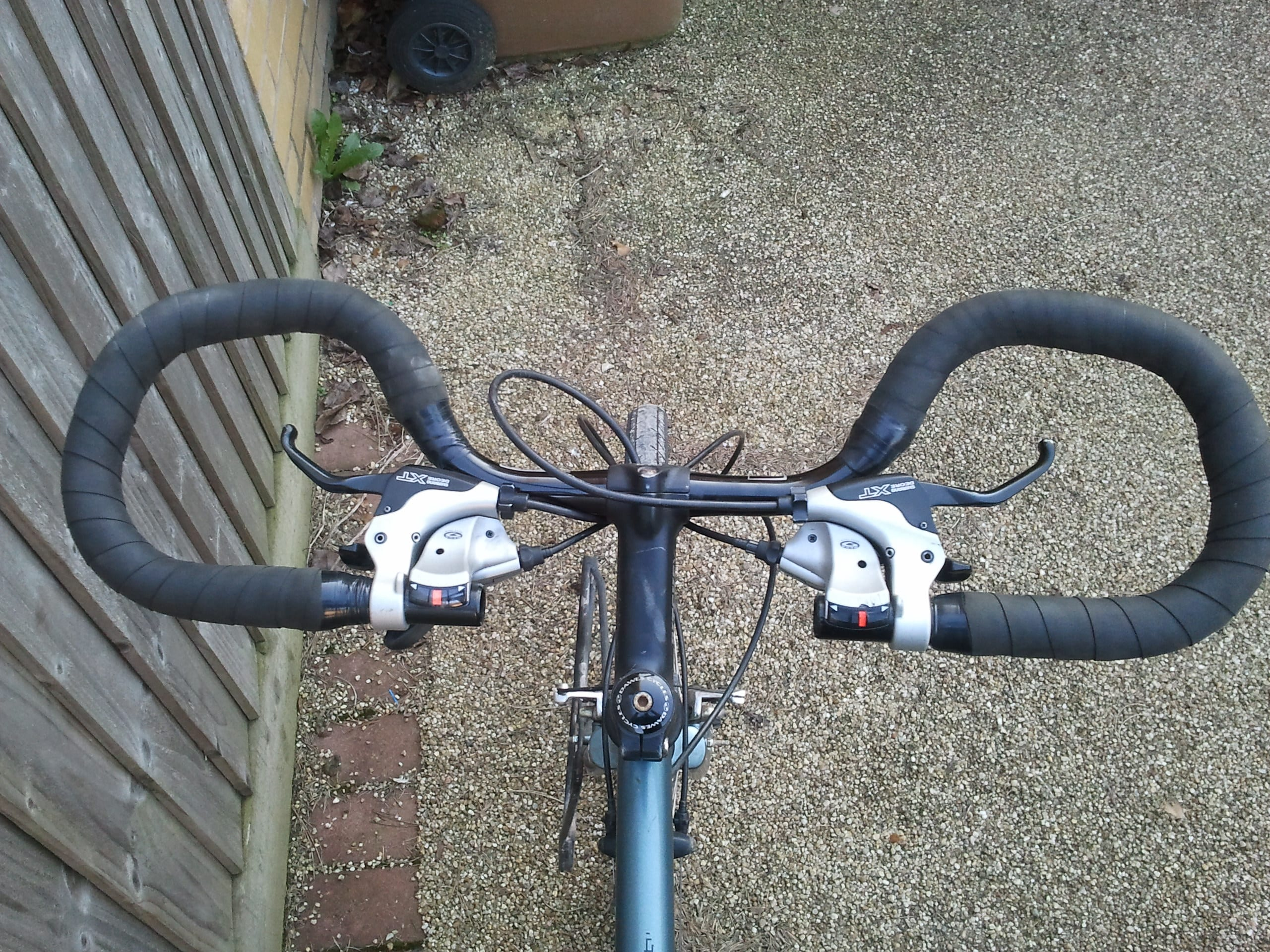 Butterfly handlebars for bicycle touring. Butterfly handlebars are also known as trekking bars.