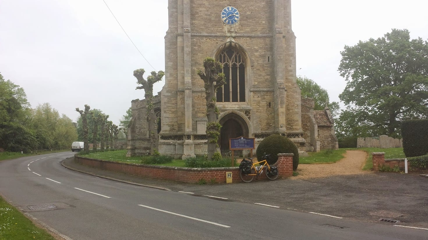 Touring bicycle outside St Andrew Church