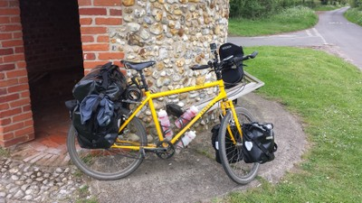 loaded touring bicycle