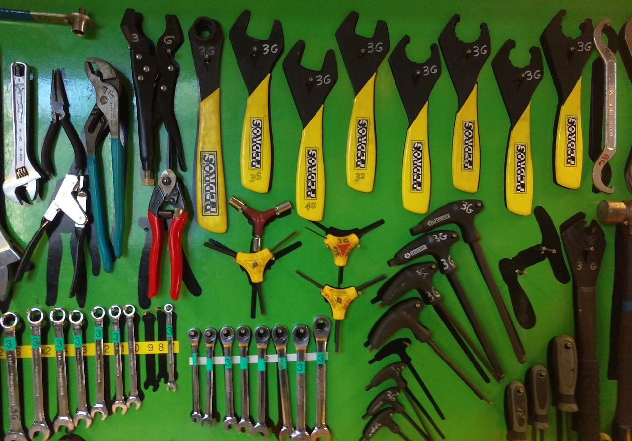 It's nice having a workshop full of bike repair tools, but you can't take them all on a bike tour with you!