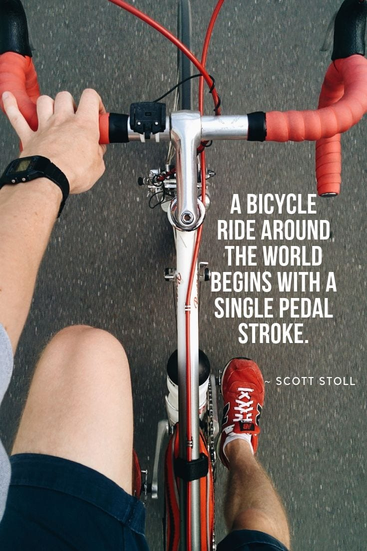 A bicycle ride around the world begins with a single pedal stroke.