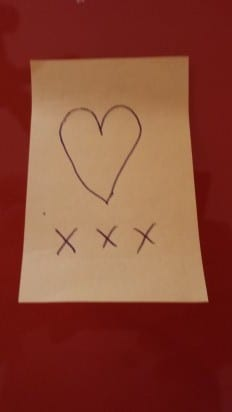 love on a post-it note