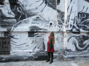 Graffiti covering walls of Athens Polytechnic