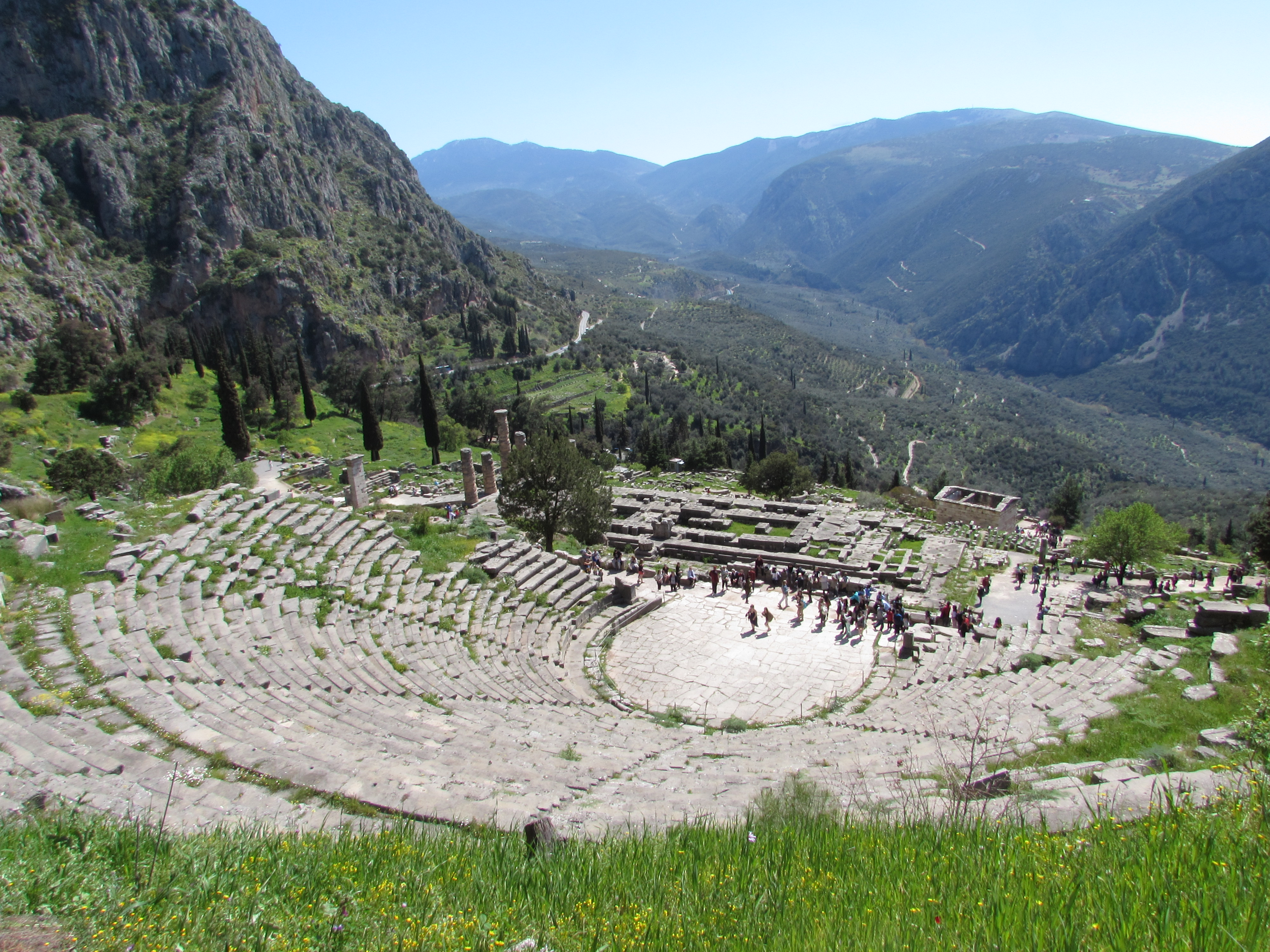 The Theatre of Delphi has incredible views out over the valley near the archaeological site of Delphi, Greece
