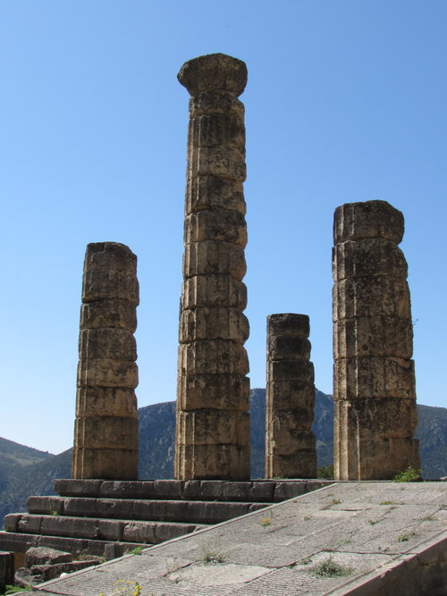 The Temple of Apollo in ancient Delphi, Greece
