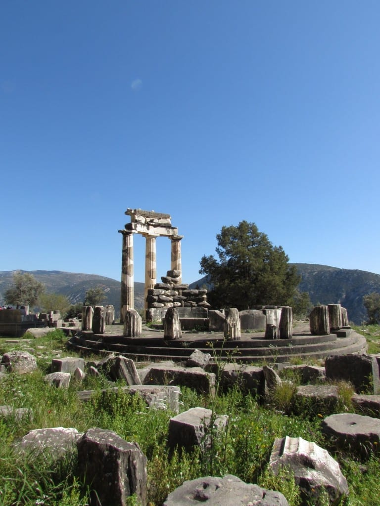 The Tholos of Athena Pronaia at the Sanctuary of Athena Pronaia in Delphi, Greece.