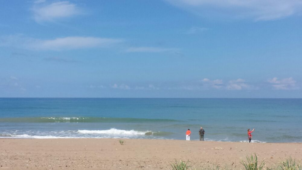 Visiting a long stretch of beach during our Peloponnese tour