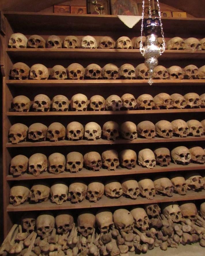Skulls inside a monastery in Meteora