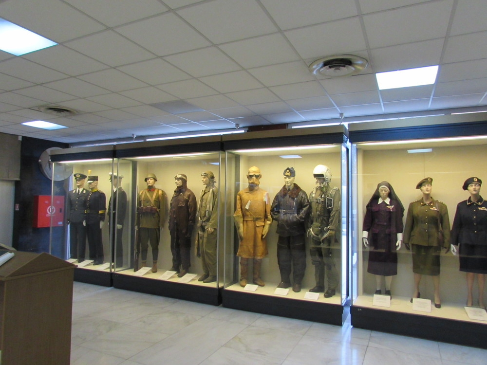 A collection of the various uniforms worn my the Greek armed services on display at the Athens War Museum