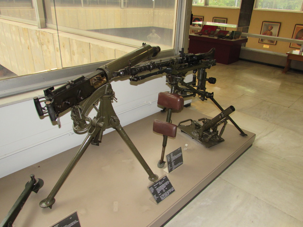 Two heavy machines guns on display inside the War Museum of Athens