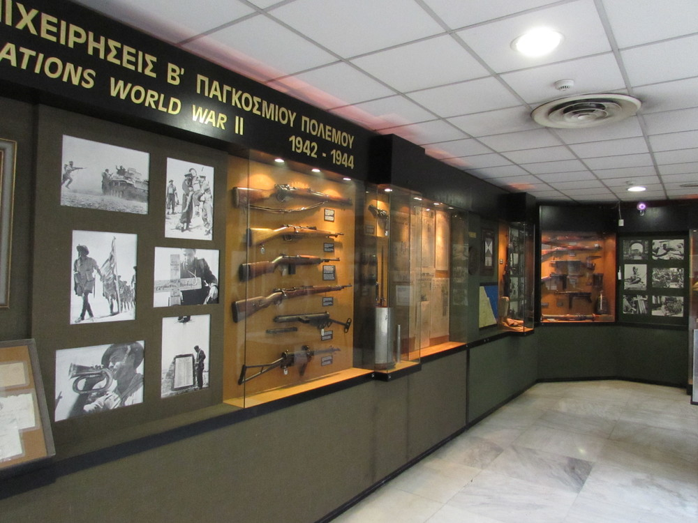 An informative display case inside the war museum of Athens
