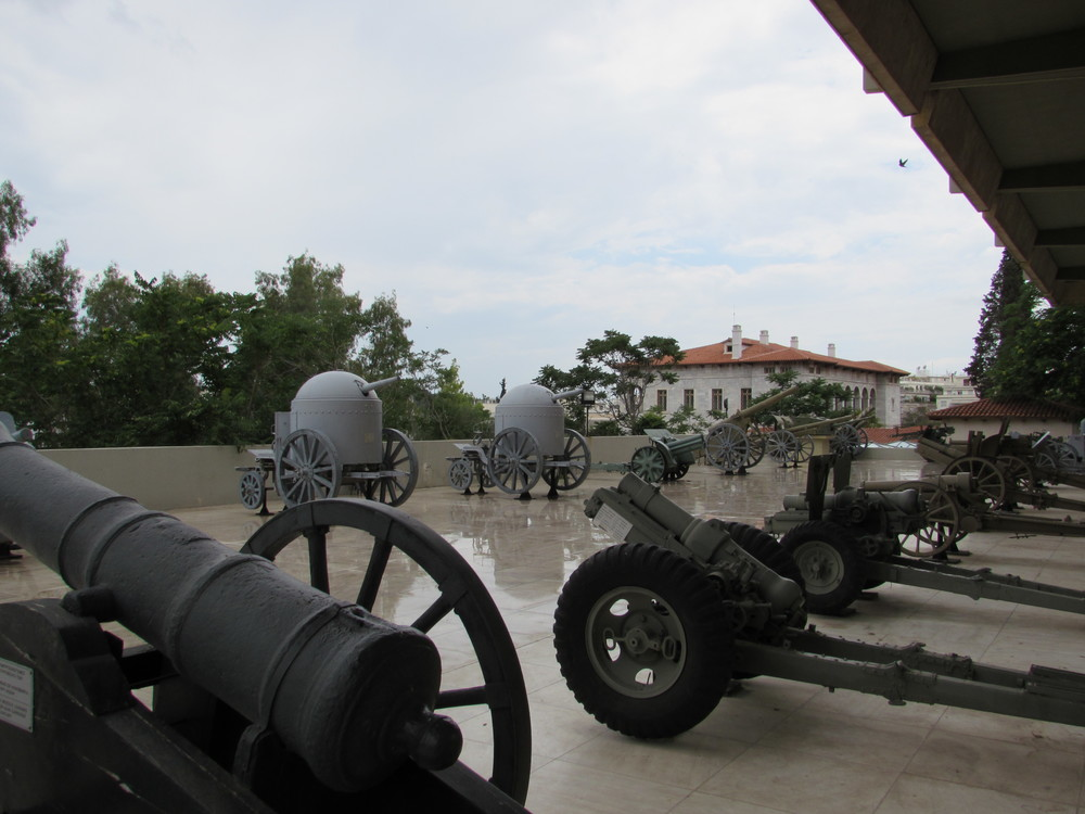 Some of the artillery used by the Greek armed forces on display at the Athens War Museum