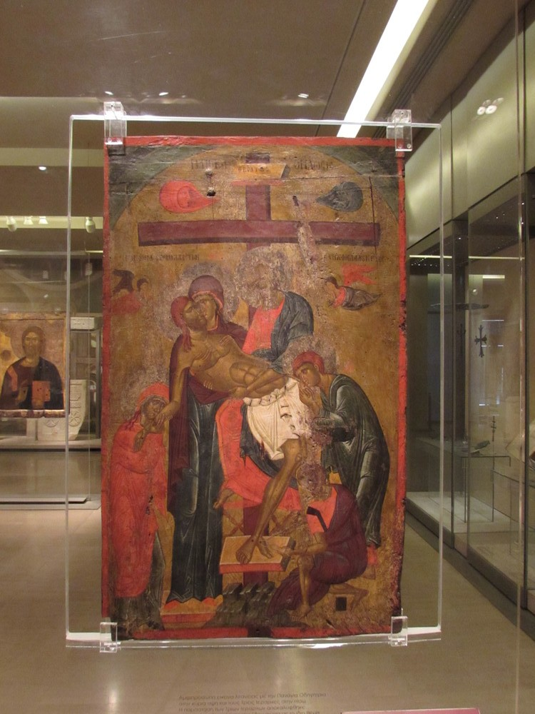 An icon inside the Byzantine museum Athens