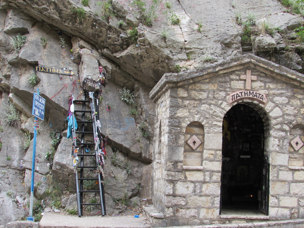 Footsteps of Mary near Proussos in Greece