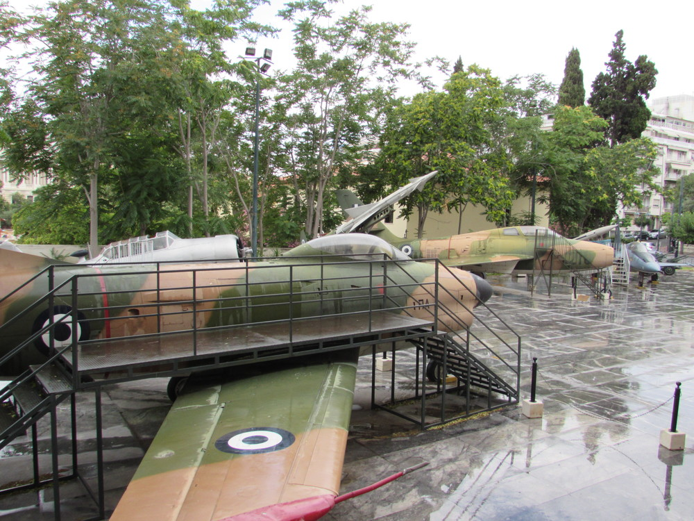 A plane is displayed in the grounds outside the Athens War Museum