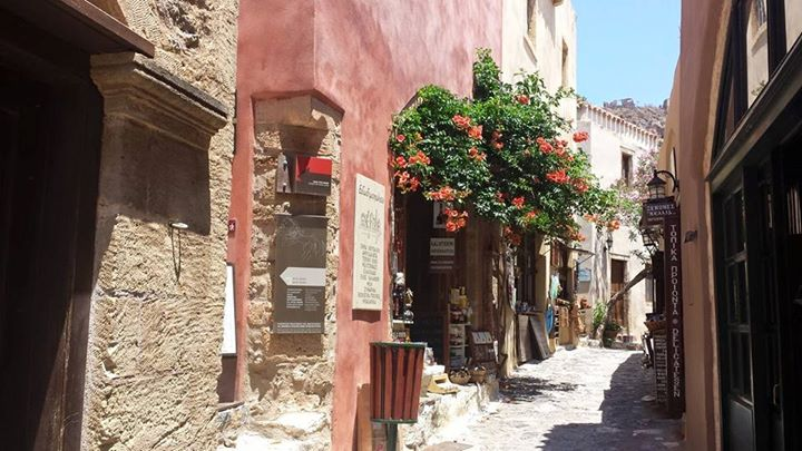 The streets of Monemvasia in Greece