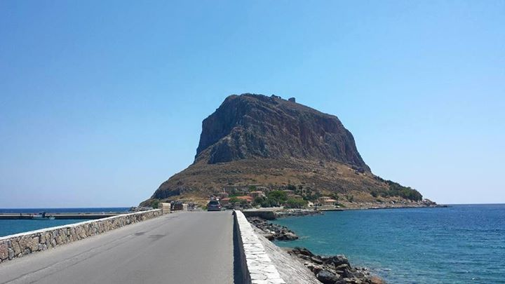Monemvasia in the Peloponnese of Greece is a monolith with a fortified settlement